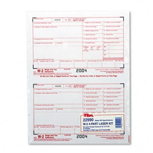 Tops 22990 W-2 Tax Forms for Laser Printers  4-Part Carbonless  50 Loose Form Sets Pack