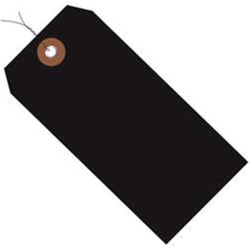Box Partners G26051W 4.75 x 2.38 in. Black Plastic Shipping Tags - Pre-Wired - Pack of 100