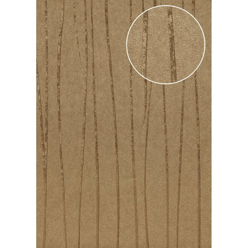 Atlas COL-567-1 Stripes wallpaper shimmering khaki-grey gold 5.33 sqm