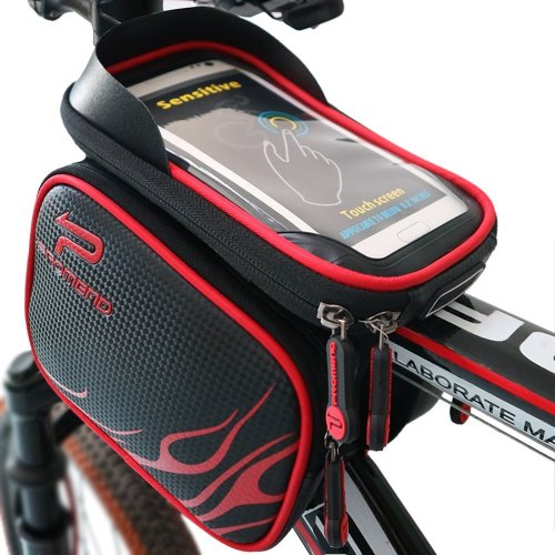 Bike Frame Bag Bike Pouch, XBoze Cycle Top Tube Bag Double Pouch Water Resistant Phone Pannier with Removable Touch Screen Phone Case for...