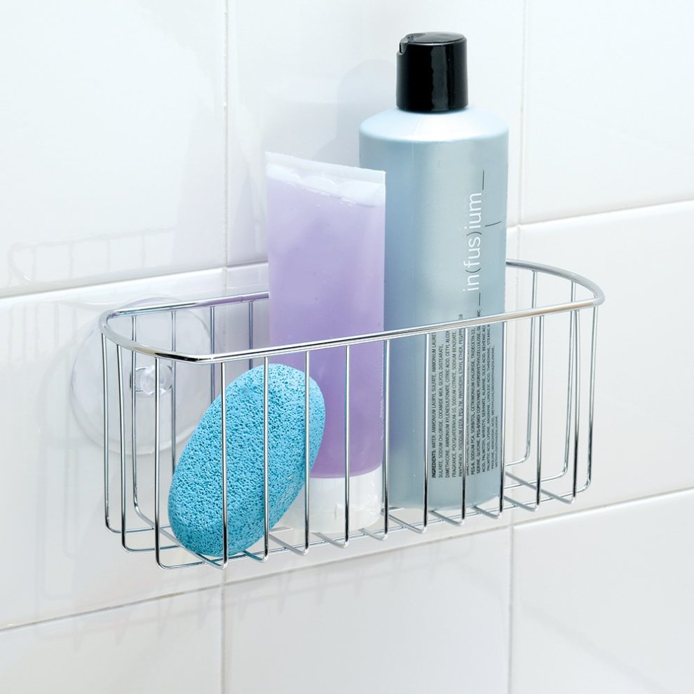Wondrous Interdesign York Bathroom Shower Shelf Suction Shower Basket Without Drilling Made Of Metal Chrome Download Free Architecture Designs Intelgarnamadebymaigaardcom