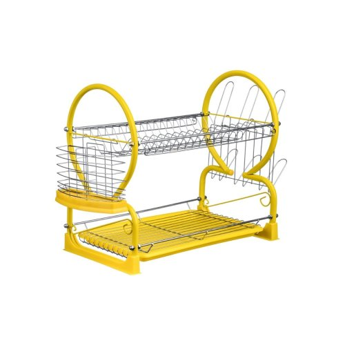 2 Tier Dish Drainer with Drip Tray - Yellow