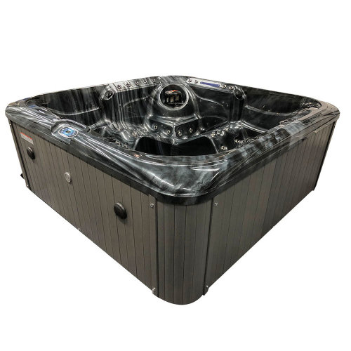 Black Stream 5 Person 32 Amp Hot Tub, Cloudy Black Shell Grey Sides