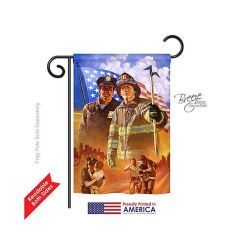 Breeze Decor 61065 Patriotic Heroes 2-Sided Impression Garden Flag - 13 x 18.5 in.