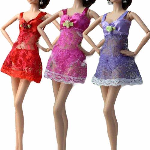 Random Color Doll Underwear Dress Up Pajama Set for 30 cm Doll, 3 Sets