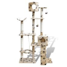 Cat Tree Cat Scratching Post 175 cm 2 Condos Beige with Pawprints