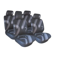 Black Grey Real Madrid Seat Cover Set - Cr7 9 Pcs Football Car Accessory -  black grey real madrid seat cover set cr7 9 pcs football car accessory