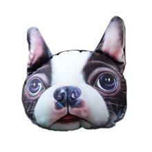 3D Cute Pet Dogs and Cats Face Head Pillow, Bulldog