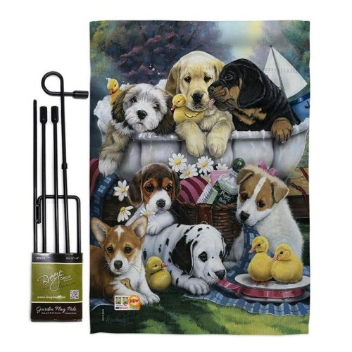 Breeze Decor BD-PT-GS-110046-IP-BO-D-US12-AL 13 x 18.5 in. Bath Time Pups Nature Pets Vertical Double Sided Mini Garden Flag Set with Banner Pole