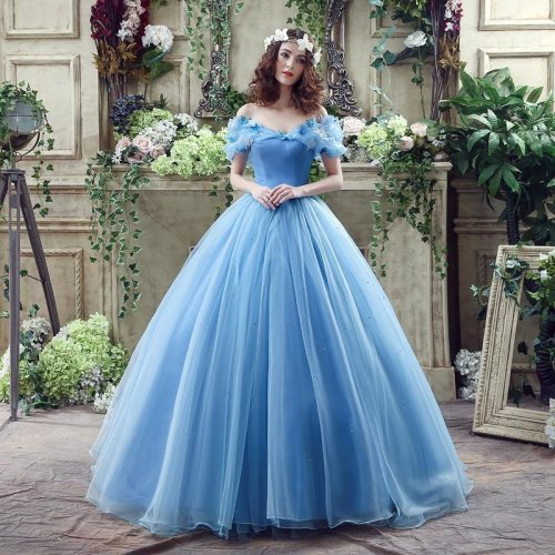 Cinderella Wedding Dress Blue Bridal Gown Off The Shoulder Cap Sleeves robe de Marry Halloween Costume with Garland 2017