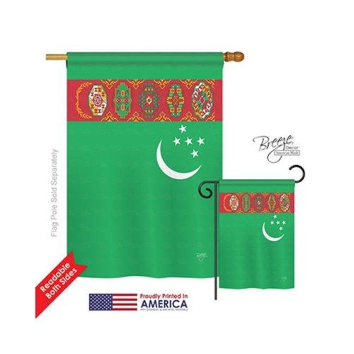 Breeze Decor 08224 Turkmenistan 2-Sided Vertical Impression House Flag - 28 x 40 in.