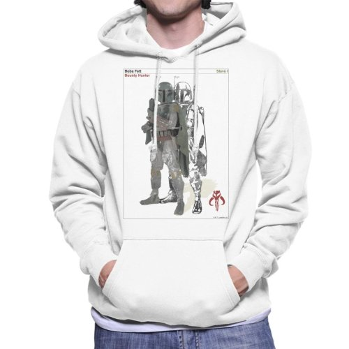 (XX-Large, White) Star Wars Boba Fett Bounty Hunter Slave I Men's Hooded Sweatshirt