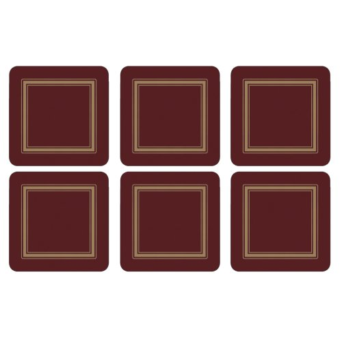 Portmeirion Pimpernel Classic Burgundy Coasters Set of 6