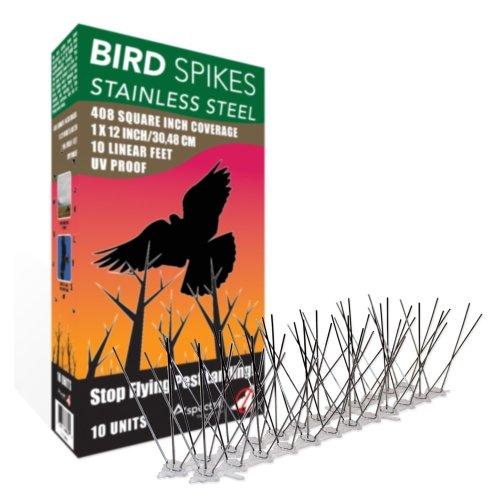 Aspectek Stainless Steel Bird Spikes Kit, 10 Feet (3 Metre). Perfect Bird Gel Deterrent (Without Glue)