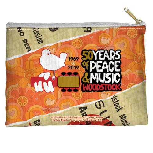 Trevco Sportswear WOOD152-PCH1-8.5x6 Woodstock & 50 Year Ticket Accessory Pouch, White - 8.5 x 6 in.