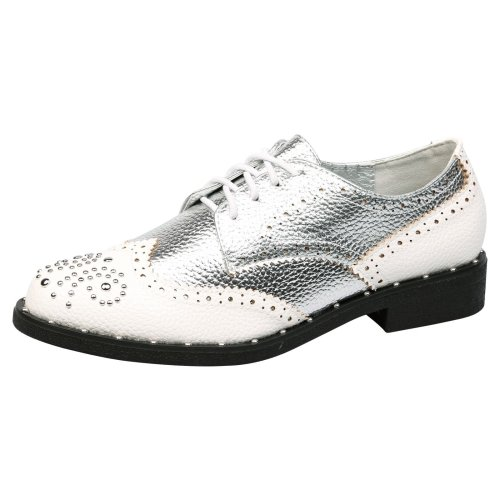 Doris Womens Low Heel Lace Up Studded Brogues