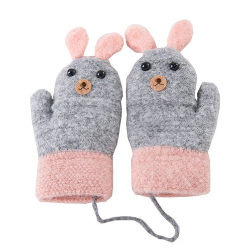 Kids Winter Warm Mittens with String Plush-lined Cartoon Gloves, #13