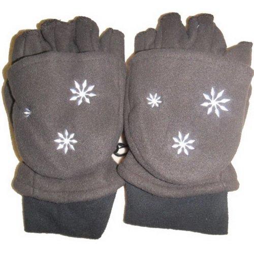 Mens Fleece Winter Glove Half-finger gloves convertible gloves (Light Brown)