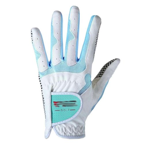 Classic Simple Design Women Golf Gloves Non-slip Sport Gloves(White&Blue) #21
