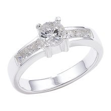 Sterling Silver Shoulder Set Cubic Zirconia Ring - Size L