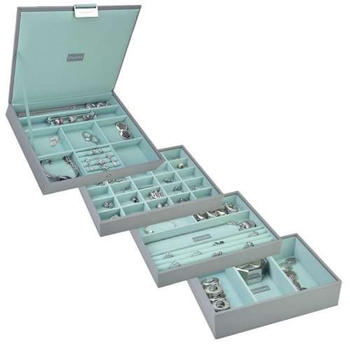 Stackers Dove Grey & Mint Green Classic Jewellery Box - Set of 4