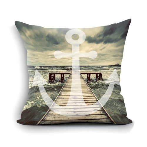 """Melyaxu Anchor Pillow Cover with Sea Pier Wooden Bridge Pillowcase Square Cushion Cover Home Sofa Couch Bedroom Decorative 18""""X18"""""""