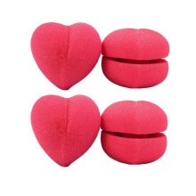 4 Pcs Heart Shape Sponge DIY Hair Styling Roller Curlers Clips (Rose-red,L)