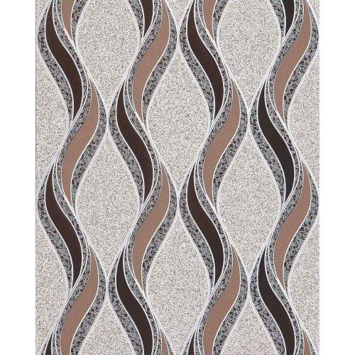 EDEM 1025-13 wallpaper curved lines ornaments beige brown silver 5.33 sqm