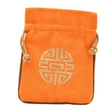 5PCS Handcraft Pouch Purse Mini Drawstring Bag Pocket Embroidery, Orange