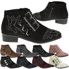 Women's Studded Low Heel Buckle Ankle Boots