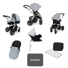 Ickle Bubba Stomp V3 All-in-1 Travel System & Isofix Base - Silver/silver