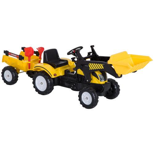 HOMCOM Kids Pedal Go Kart Excavator-Yellow