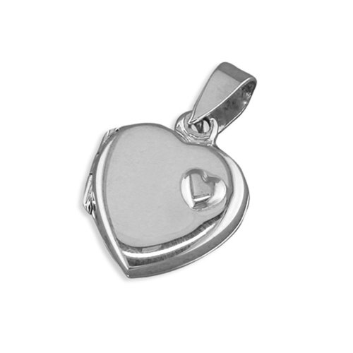 Childrens Sterling Silver Heart With Small Raised Offset Heart Locket On A Curb Necklace