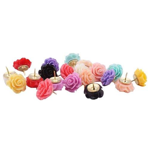 20 Pcs Creative Pushpin Push Pin Thumbtack Office Supplies, Rose flower