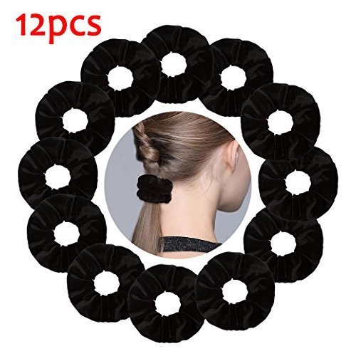 Ondder 12 Pack Black Velvet Scrunchies Hair Bobble Elastics Hair Scrunchy  Hair Bands Headbands Women Scrunchies Bobbles Hair Ties a1e68d3bd6f