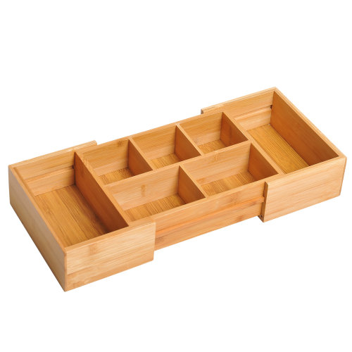 HOMCOM Bamboo Expandable Cutlery Tray Organiser Drawer Inserts Wooden Storage Holder Kitchen Holder