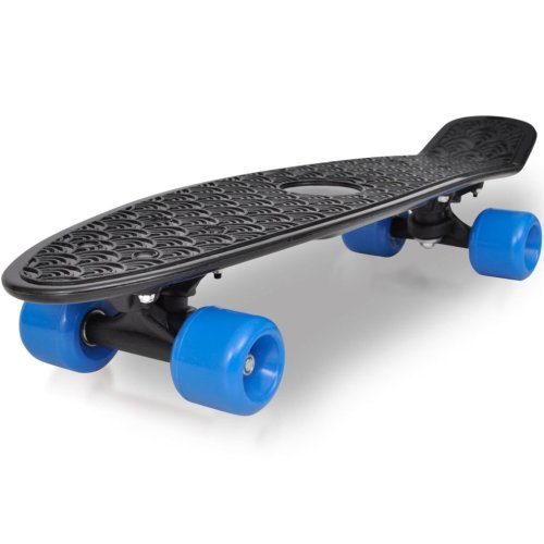 Retro Skateboard with Black Top Blue Wheels 6.1""