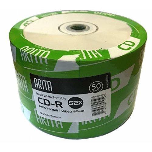 Ritek/ Arita CD-R 52x CD Discs Data 700MB Video 80 Mins White Inkjet Printable (50 Pack)