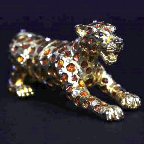 Enamelled Metal Leopard Trinket Box Ornament
