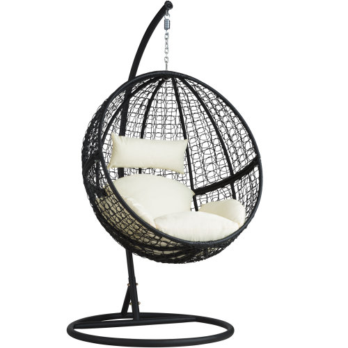 Poly rattan hanging chair with round frame black