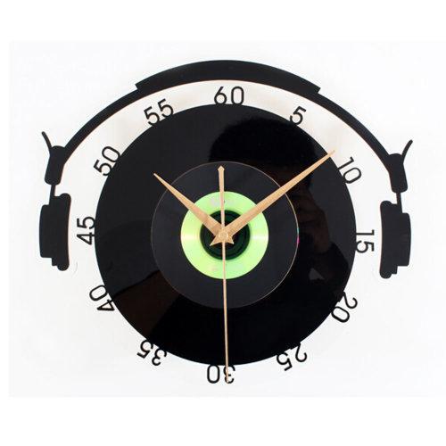 Solid Black Plastic CD Wall Clock Retro Look Home Decoration(12'',Black&Green)