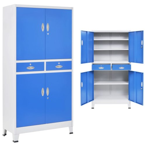 vidaXL Office Cabinet with 4 Doors Metal 90x40x180cm Grey and Blue Storage