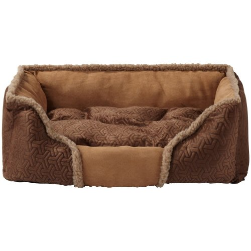 (Large, Brown) Bunty Kensington Dog Bed | Fleece Pet Bed