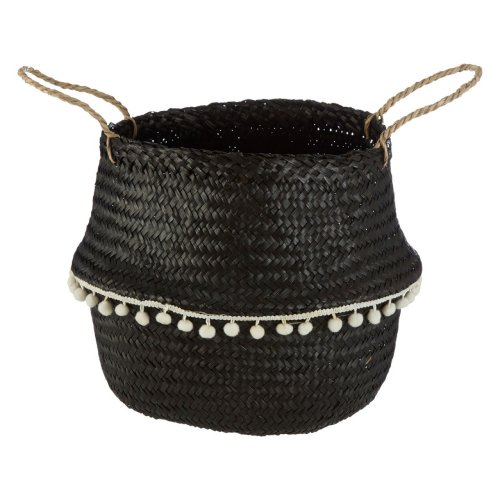 Black Seagrass Belly Basket White Pom Pom Trim, Medium