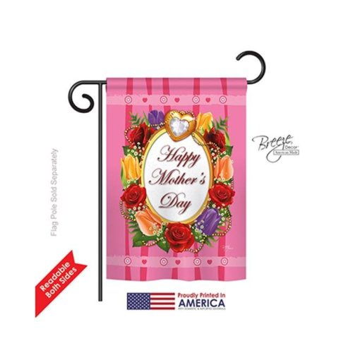 Breeze Decor 65071 Happy Mothers Day 2-Sided Impression Garden Flag - 13 x 18.5 in.