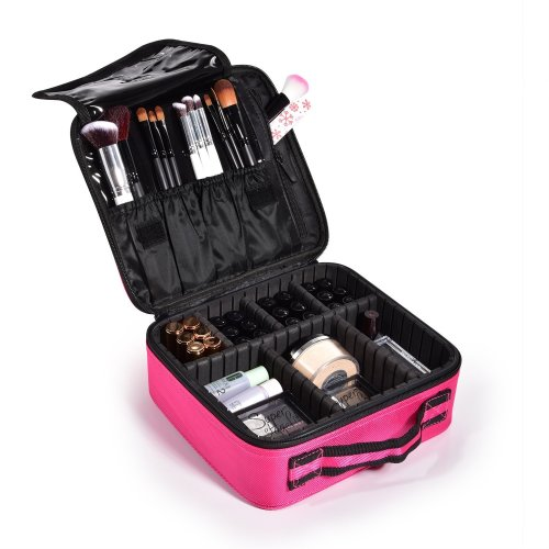 c7042438c993 Joligrace Oxford Fabric Makeup Bag Cosmetic Case Beauty Box Hairdressing  Tools Organiser Storage Box (Mini Size: 26x23x9.5cm, Hot Pink)