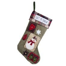 Hanging Green Fabric Christmas Snowman 'Let it Snow' Stocking
