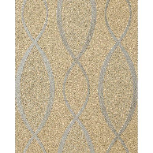 EDEM 1018-13 fashion wallpaper design stripes retro cuved lines brown beige grey