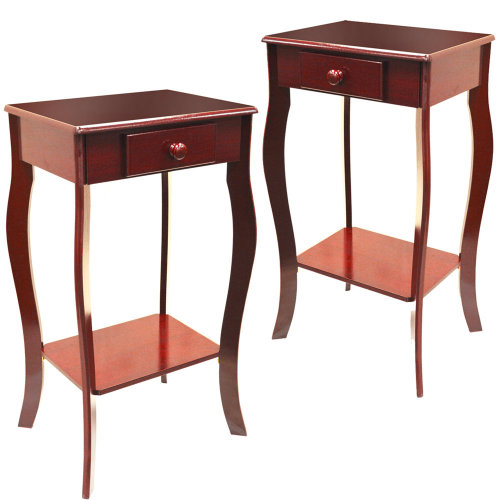 KADOKA - PACK OF TWO - Wooden Bedside Tables with Storage Drawer - Cherry