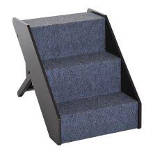 PawHut Height Adjustable Wooden Pet Step Folding Stairs 3 Level Carpet Ramp